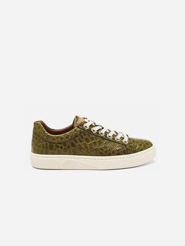 Mireia Playà Idris Vegan Patent Leather Trainer | Green Croc