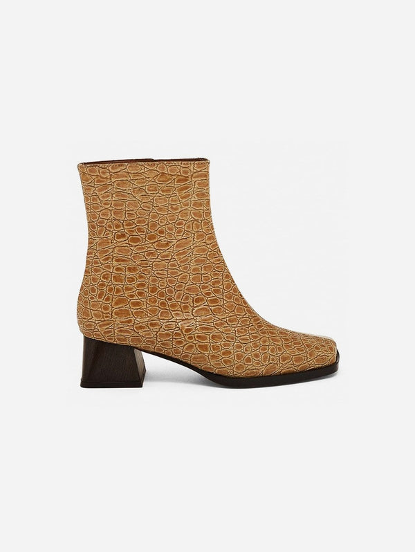 Mireia Playà Italia Vegan Patent Leather Ankle Boot | Beige Croc