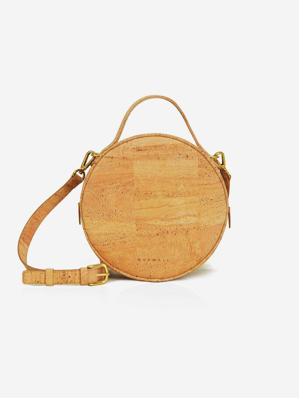 MURMALI Beta Handcrafted Cork Vegan Round Shoulder Bag | Natural