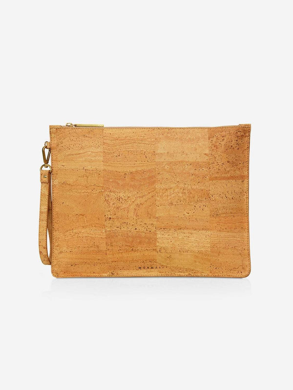 MURMALI Delta Handcrafted Cork Vegan Large Clutch Pouch | Natural