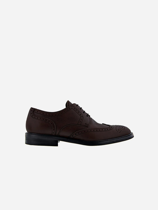 NOAH - Italian Vegan Shoes Achille Vegan Nappa Leather Brogued Derby | Brown
