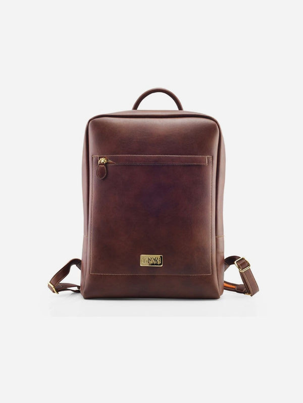 NOAH - Italian Vegan Shoes Arezzo Vegan Leather Backpack | Cognac Brown