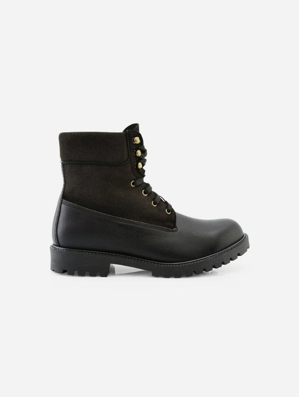 NOAH - Italian Vegan Shoes Claude Vegan Leather & Suede Winter Boot | Black