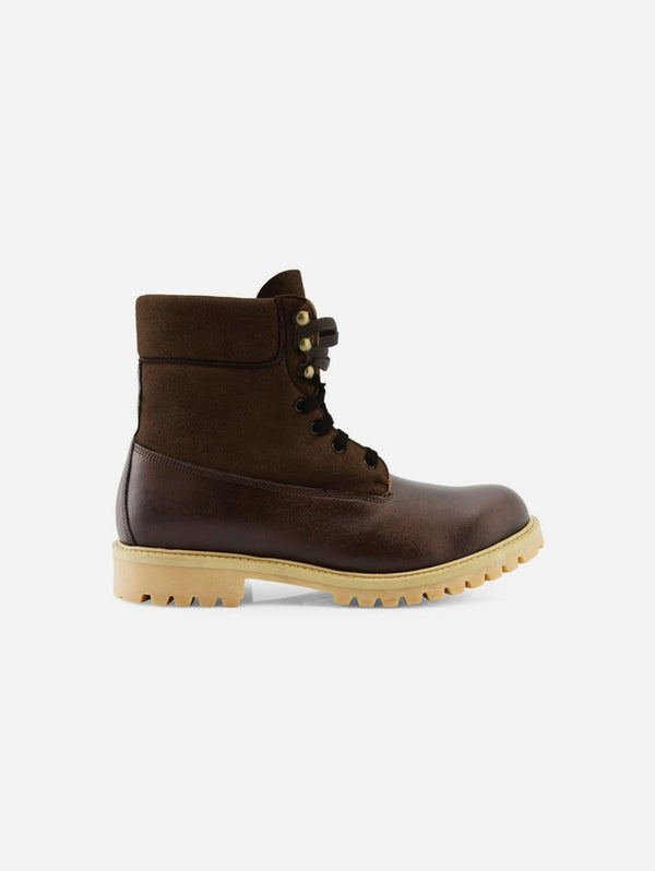 NOAH - Italian Vegan Shoes Claude Vegan Leather & Suede Winter Boot | Brown
