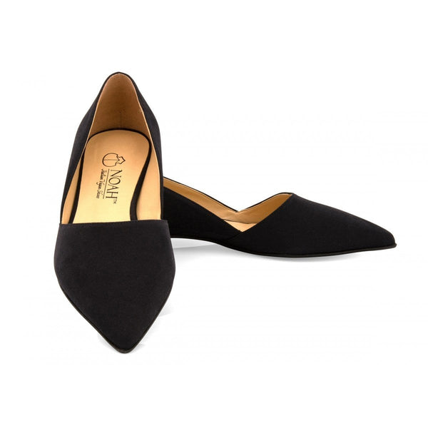 NOAH - Italian Vegan Shoes Stefania Vegan Suede Flat | Black