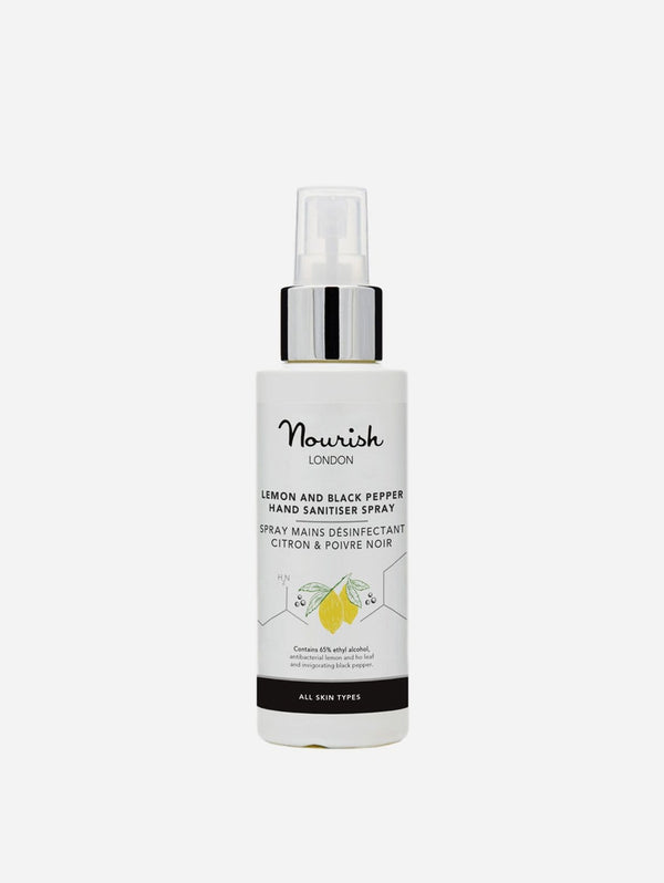 Nourish London Lemon & Black Pepper Hand Sanitiser Spray | 65% Alcohol 100ml 100 ml