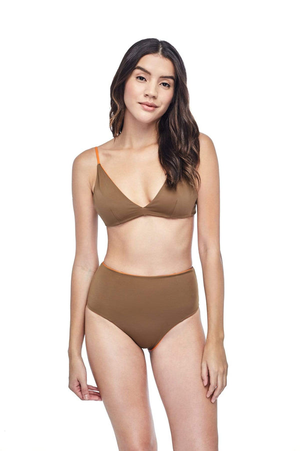 Ozero Swimwear Caspian ECONYL® High Waisted Bikini Bottom | Reversible Burnt Orange/Mocha