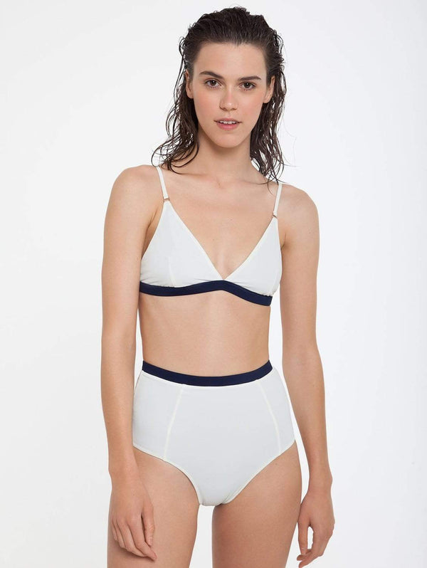 Ozero Swimwear Nero ECONYL® High Waisted Bikini Bottom | Reversible Pearl White/Navy Blue