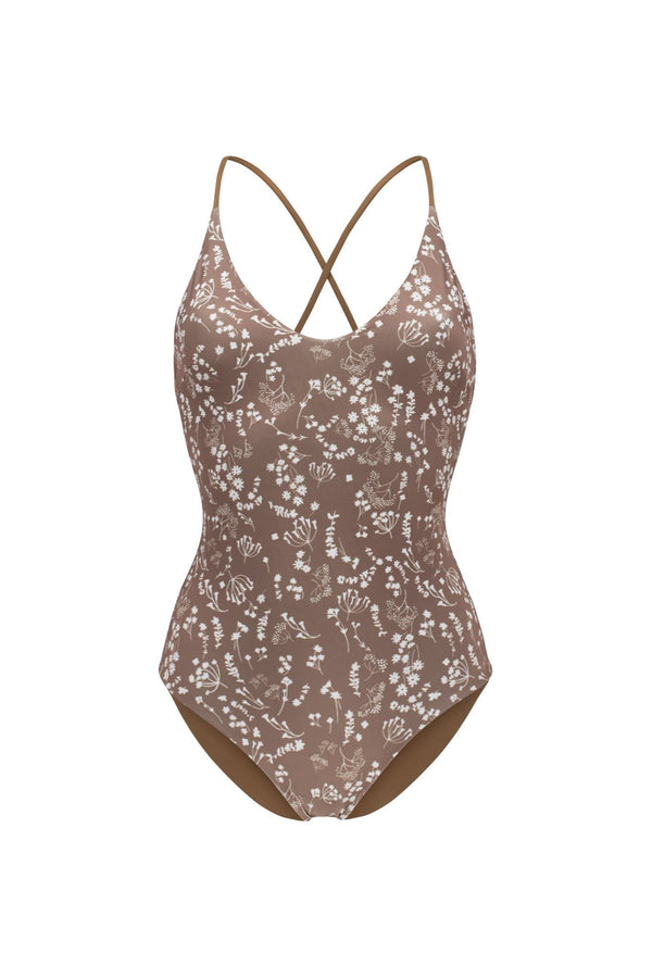 Ozero Swimwear Seliger ECONYL® One Piece Swimsuit | Reversible Russian Summer Print/Mocha