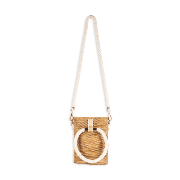 Stelar Weh Handwoven Atta Vegan Barrel Bag | Natural & White