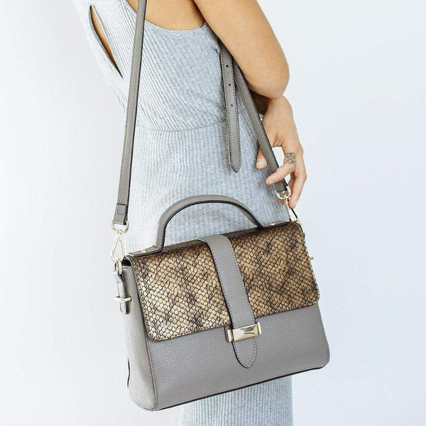 STORY 81 Lila Textured Vegan Leather Bag | Concrete Grey