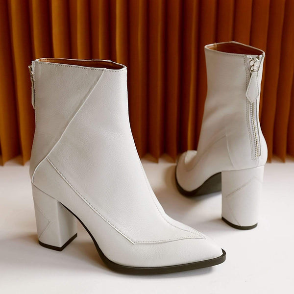 Sylven New York Almasi Apple Skin Vegan Leather Boot | White