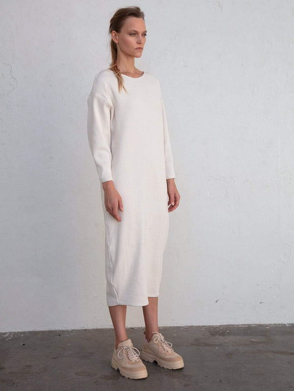 Taiyo Luna Recycled Cotton Rib Knit Dress | Full Moon
