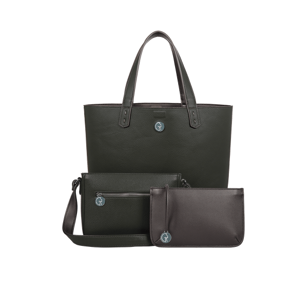 The Morphbag by GSK 3 Vegan Leather Bags in 1 | Black Forest Green & Metallic Mushroom
