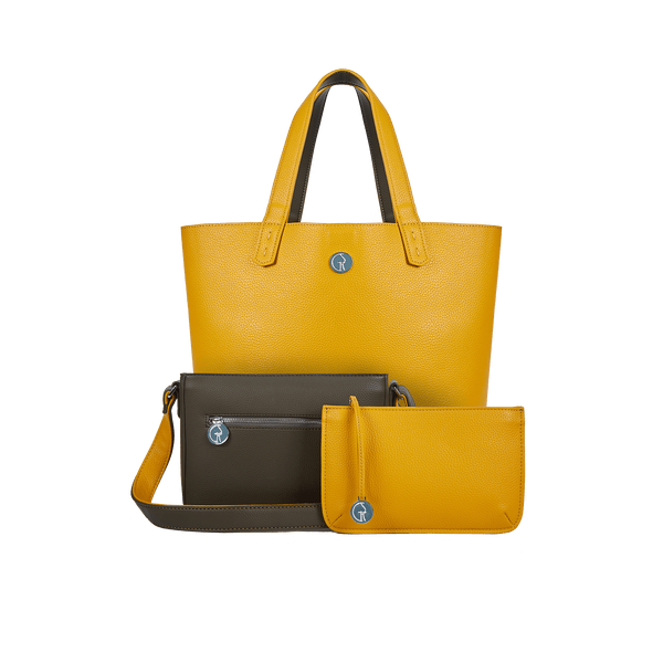 The Morphbag by GSK 3 Vegan Leather Bags in 1 | Green Pepper & Mustard