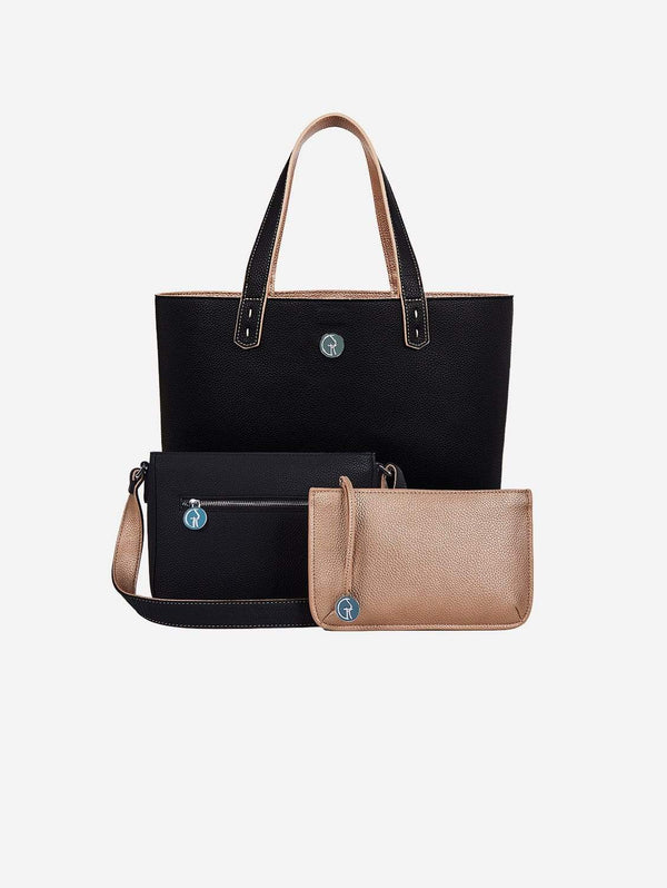 The Morphbag by GSK 3 Vegan Leather Bags in 1 | Onyx & Rose Gold
