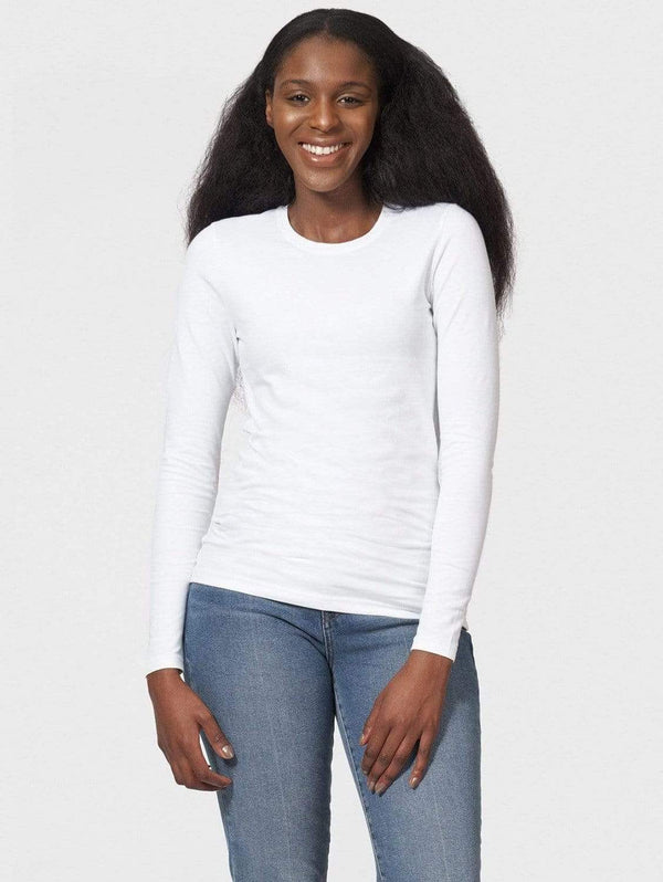 The White T-Shirt Co Fitted Round Neck Organic Cotton Long Sleeve T-shirt | Multiple Colours