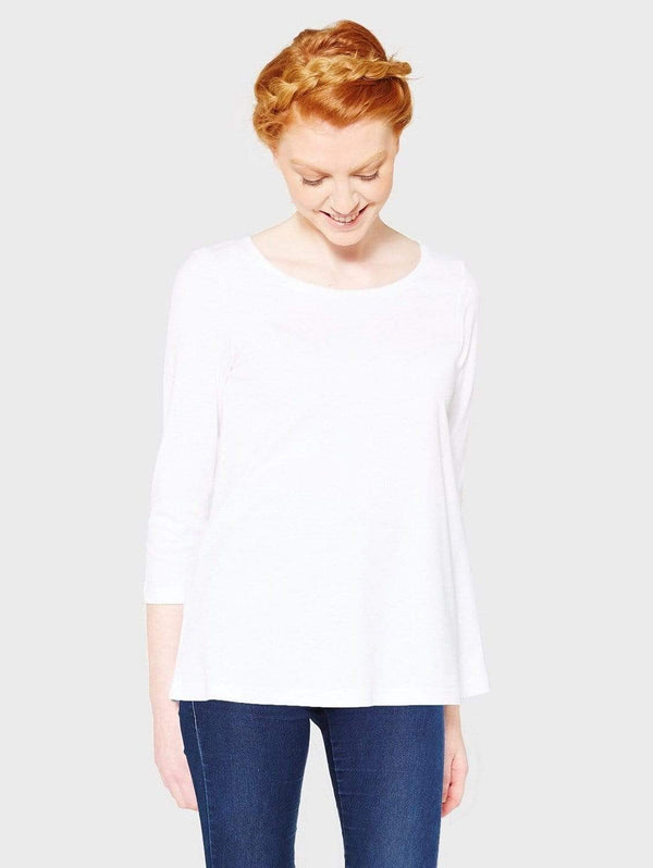 The White T-Shirt Co Relaxed Ballerina Neck Organic Cotton A Line T-shirt | Multiple Colours S / White