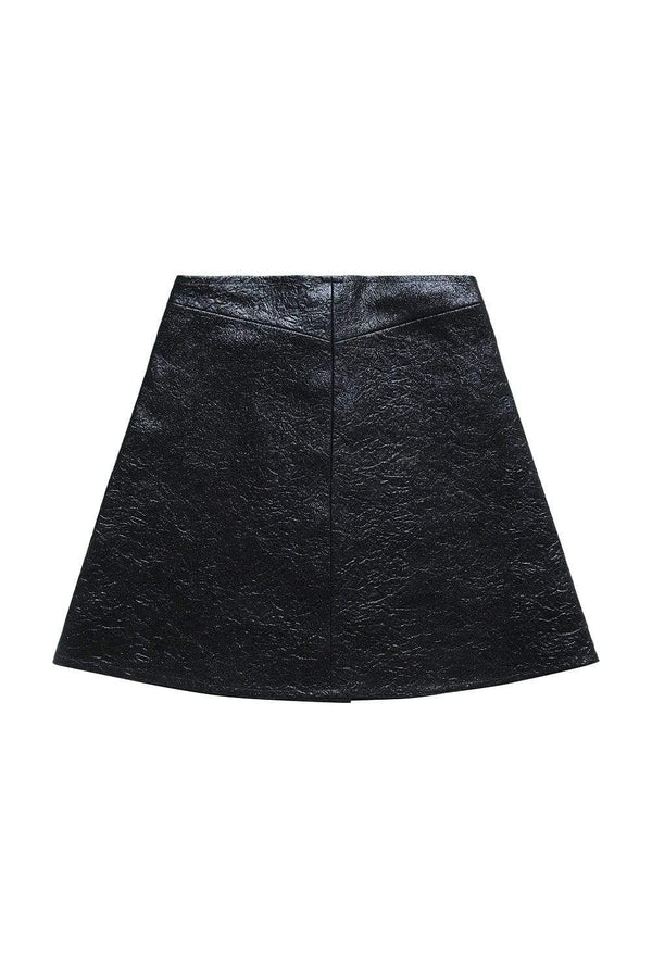 Via Gioia Paris A-line Cotton Skirt | Crumpled Black Coated