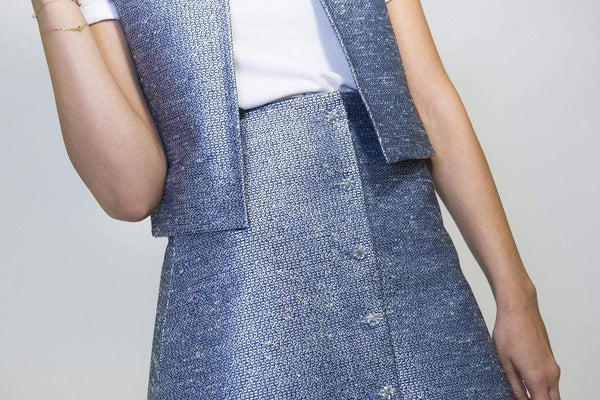 Via Gioia Paris A-line Tweed Skirt | Blue & Silver