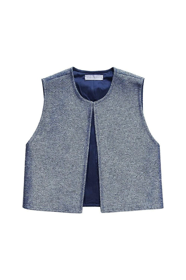 Via Gioia Paris French Bolero | Blue & Silver Tweed