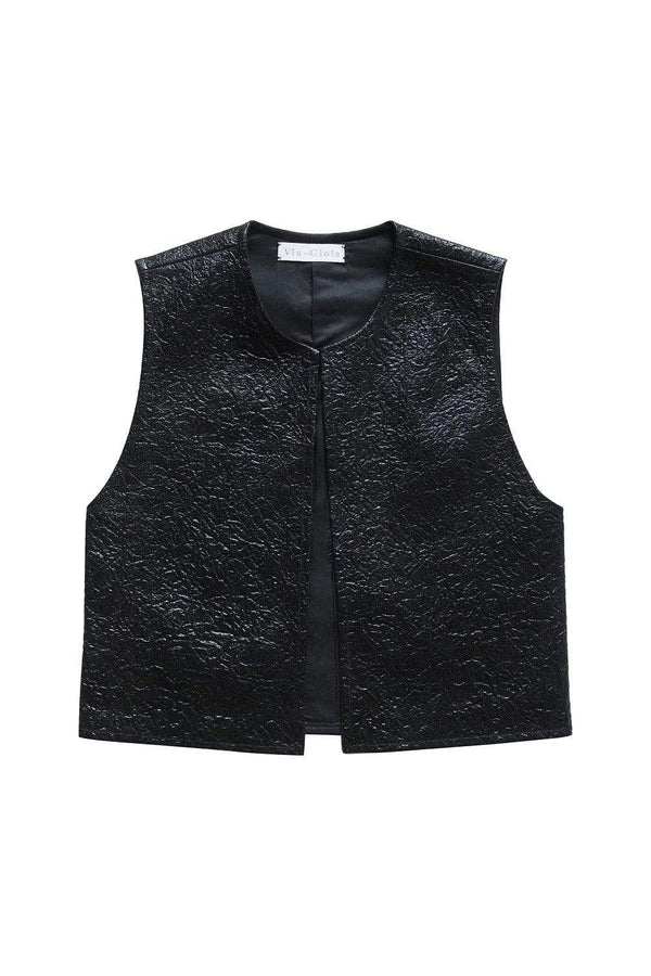 Via Gioia Paris French Bolero | Crumpled Black Coated Cotton
