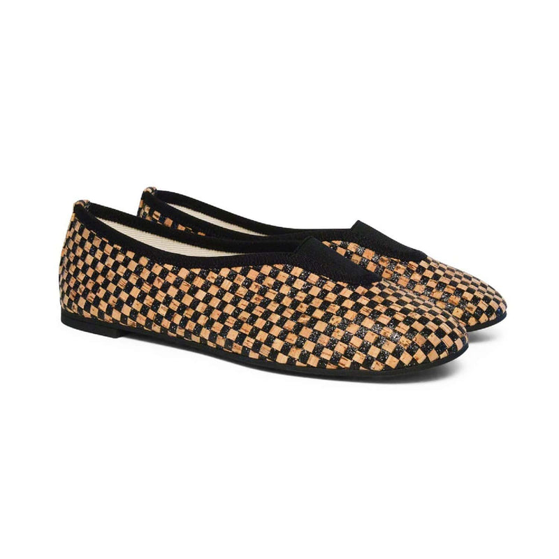 Via Gioia Paris Rhythmic Vegan Ballet Flats | Checkered Glittery Black Cork