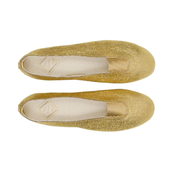 Via Gioia Paris Rhythmic Vegan Ballet Flats | Dark Golden Canvas