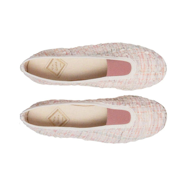 Via Gioia Paris Rhythmic Vegan Ballet Flats | Ecru & Pastel Tweed