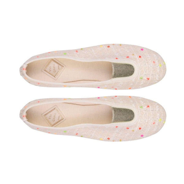 Via Gioia Paris Rhythmic Vegan Ballet Flats | Ecru Tweed & Mini Pompoms