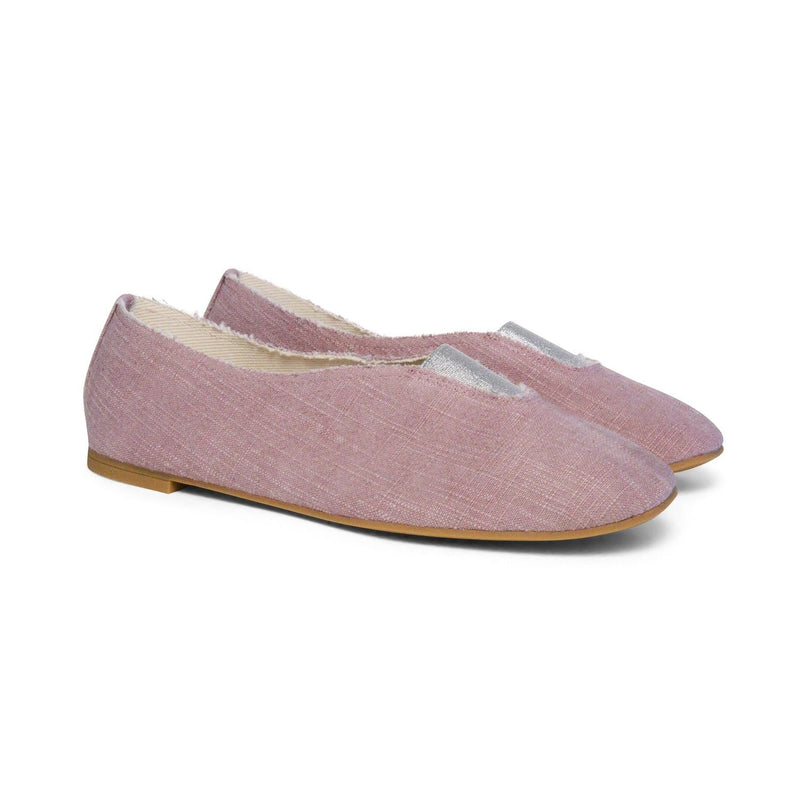 Via Gioia Paris Rhythmic Vegan Ballet Flats | Pink Stone Washed Canvas