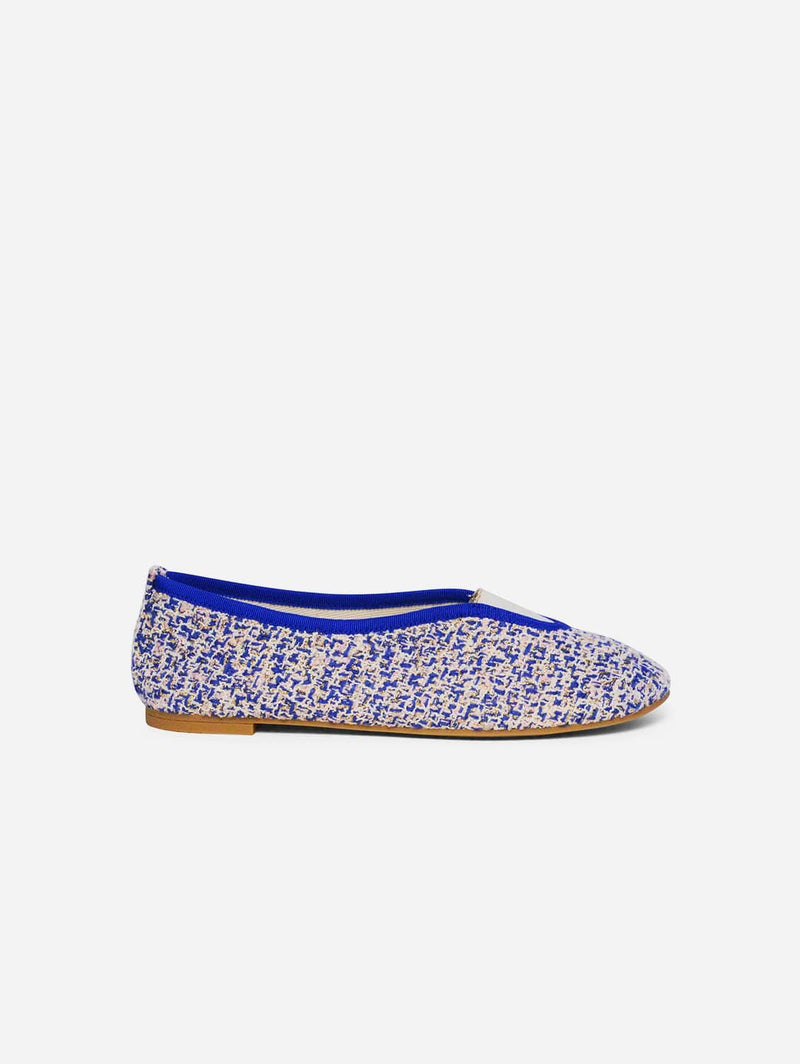 Via Gioia Paris Rhythmic Vegan Ballet Flats| Royal Blue, Pale Pink & Gold Tweed