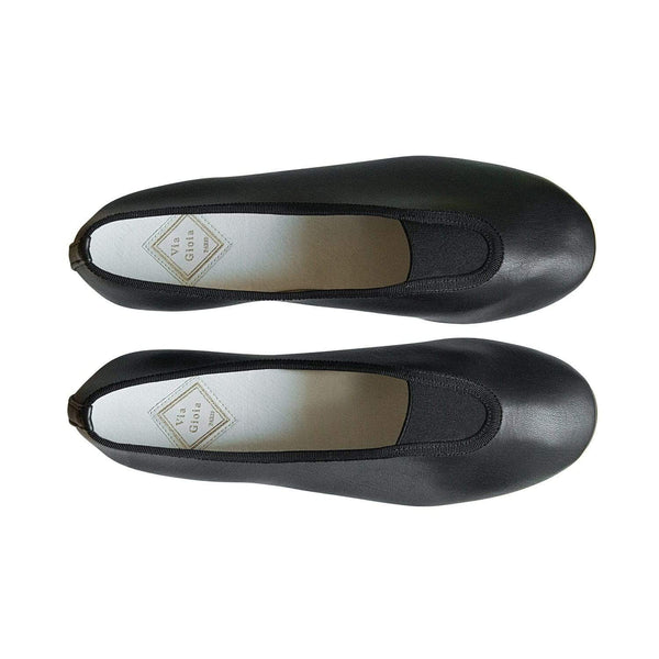 Via Gioia Paris Rhythmic Vegan Nappa Leather Ballet Flats | Black