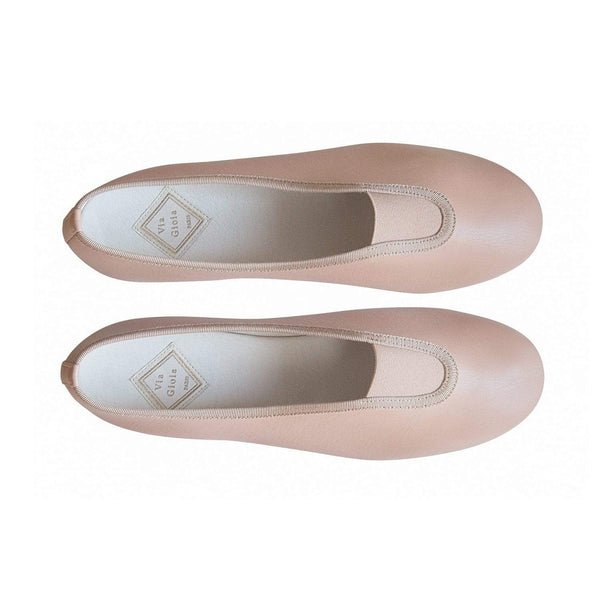 Via Gioia Paris Rhythmic Vegan Nappa Leather Ballet Flats | Pink Beige