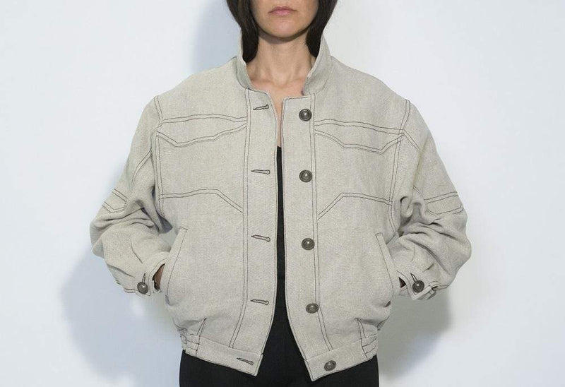 Via Gioia Paris Oversized Vegan Bomber Jacket | Beige Stone Washed Linen S-L