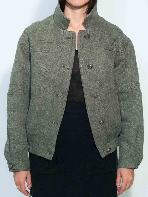 Via Gioia Paris Oversized Vegan Bomber Jacket | Khaki Green Stone Washed Linen S-L