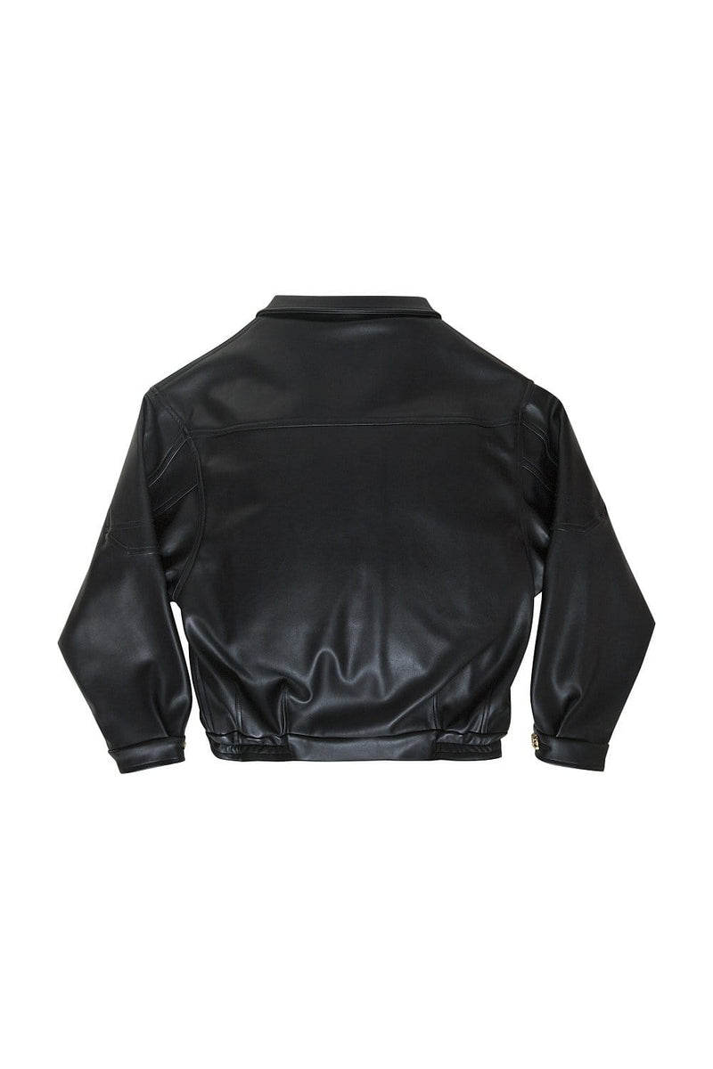 Via Gioia Paris Oversized Vegan Leather Bomber Jacket | Black S-L