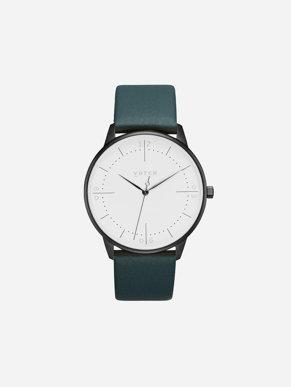 Votch Aalto Black & White Dial Watch | Juniper Vegan Leather Strap