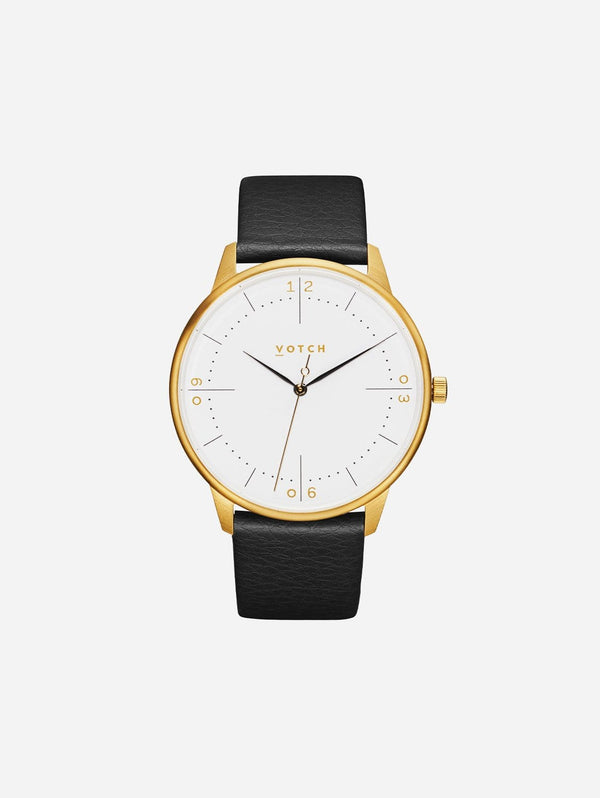 Votch Aalto Gold & White Dial Watch |  Black Vegan Leather Strap