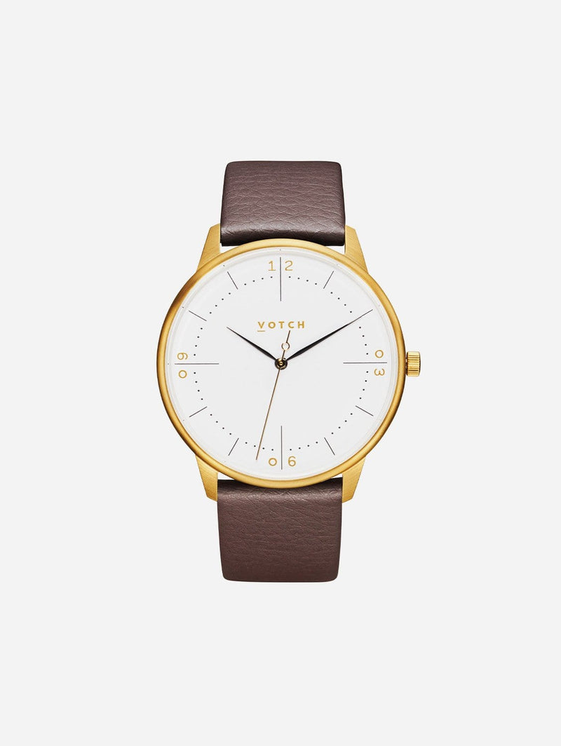 Votch Aalto Gold & White Dial Watch |  Brown Vegan Leather Strap