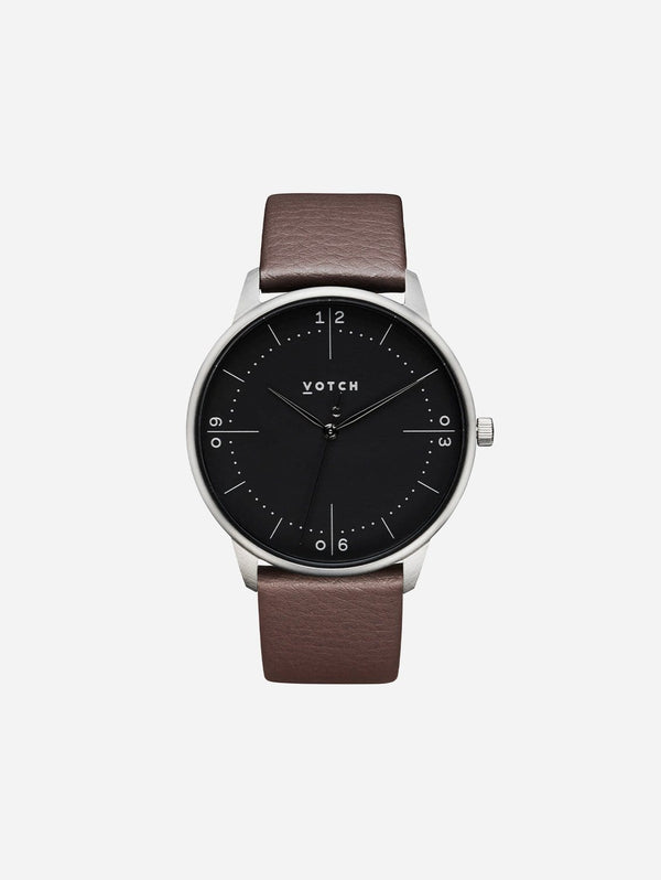 Votch Aalto Silver & Black Dial Watch  | Brown Vegan Leather Strap