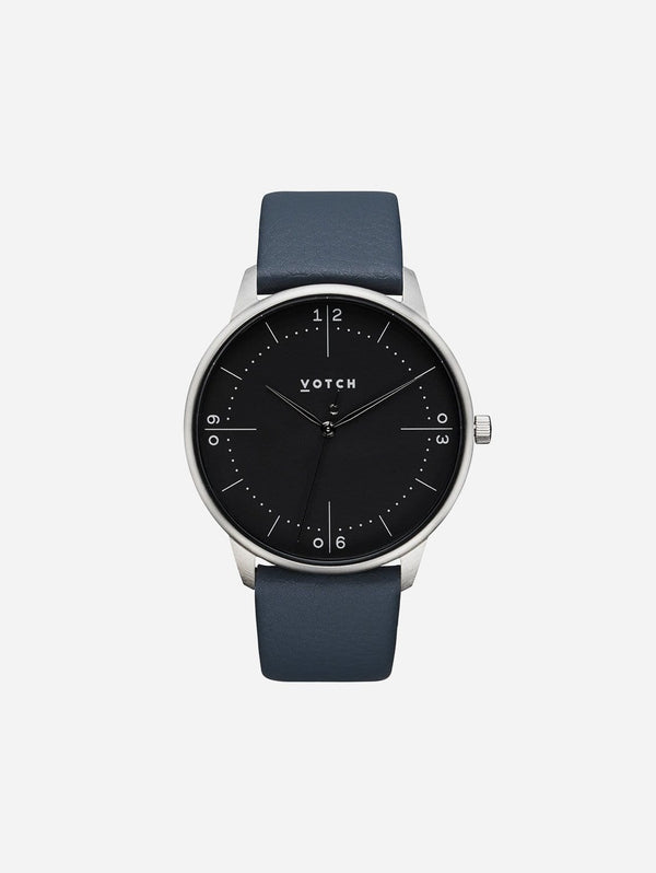 Votch Aalto Silver & Black Dial Watch | Navy Vegan Leather Strap