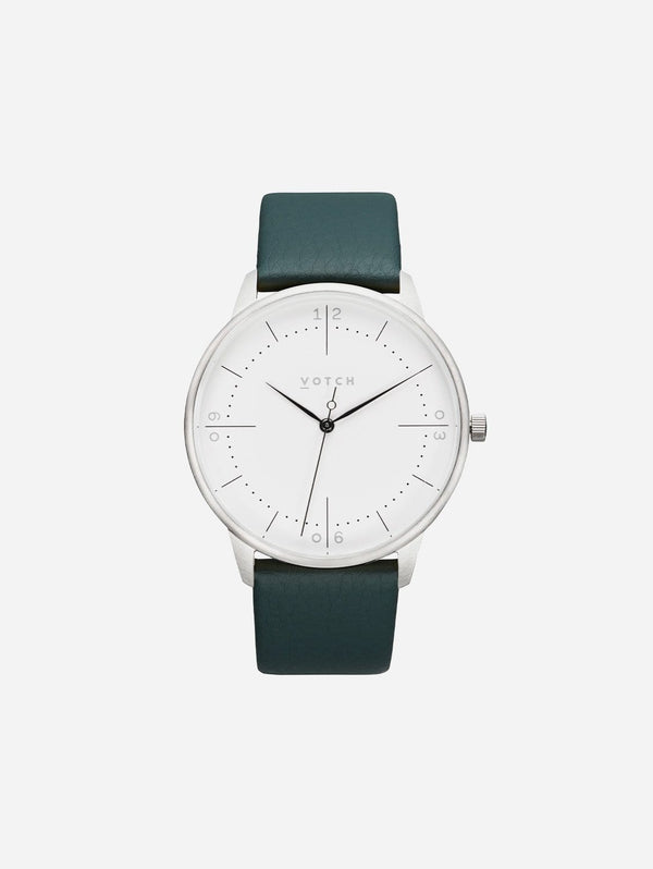 Votch Aalto Silver & White Dial Watch | Juniper Vegan Leather Strap