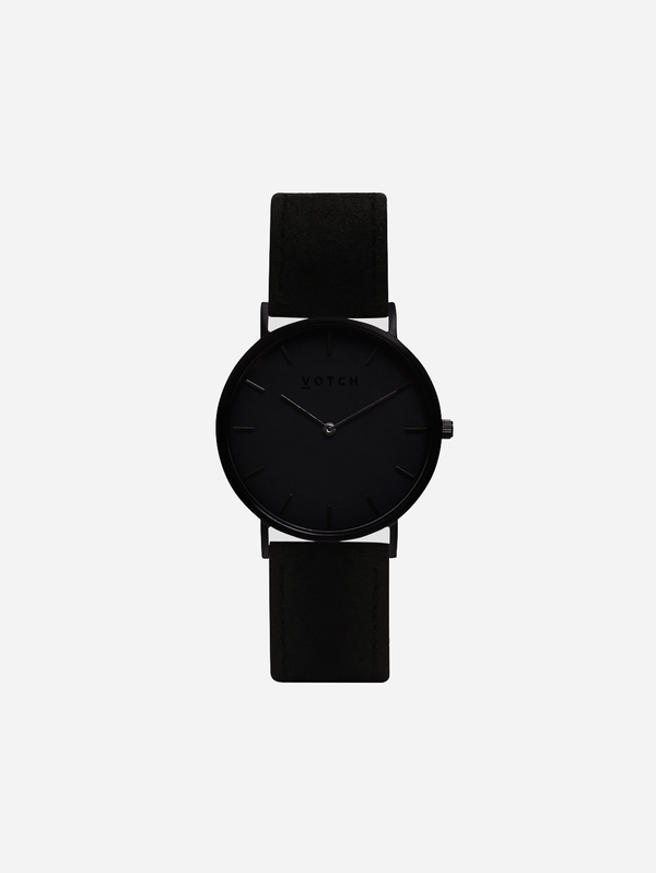 Votch Black & Piñatex with Black Face Vegan Watch | Classic