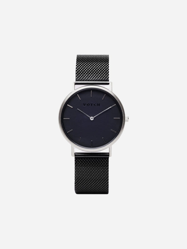 Votch Classic Silver & Black Dial Watch | Black Mesh Strap
