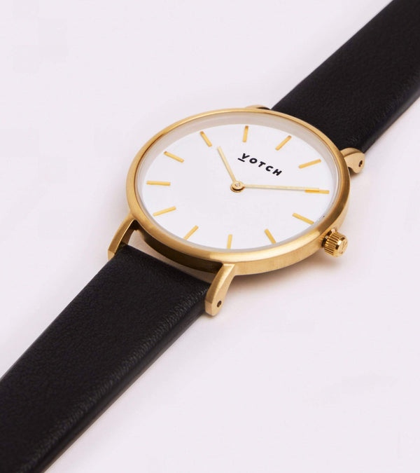 Votch Gold & Black Vegan Watch | Petite
