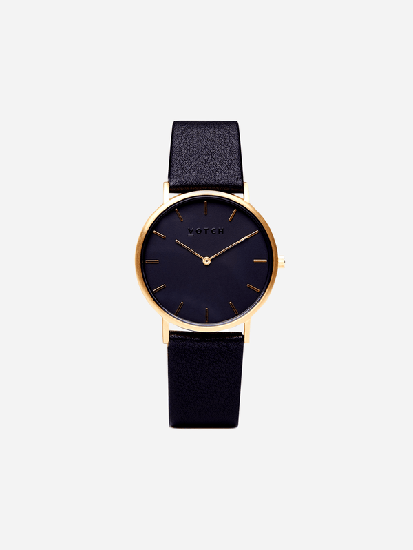 Votch Gold & Black with Black Face Vegan Watch | Classic