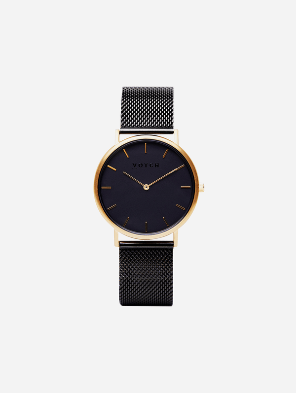 Votch Gold & Black with Black Face Vegan Watch | Mesh Classic