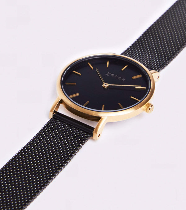 Votch Gold & Black with Black Face Vegan Watch | Mesh Petite