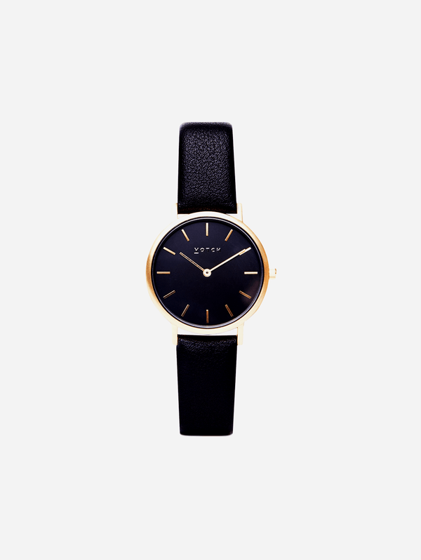 Votch Gold & Black with Black Face Vegan Watch | Petite